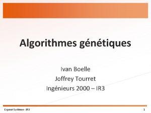 Algorithmes gntiques Ivan Boelle Joffrey Tourret Ingnieurs 2000
