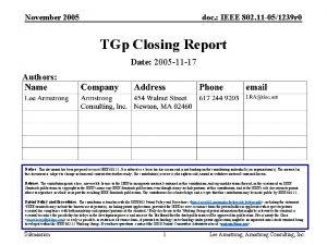 November 2005 doc IEEE 802 11 051239 r