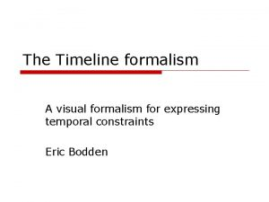 The Timeline formalism A visual formalism for expressing