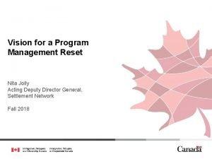 Vision for a Program Management Reset Nita Jolly