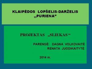 KLAIPDOS LOPELISDARELIS PURIENA PROJEKTAS SLIEKAS PARENG DAGNA VOLKOVAIT