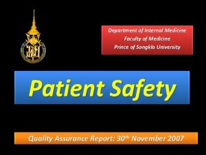 Department of Internal Medicine Faculty of Medicine Prince