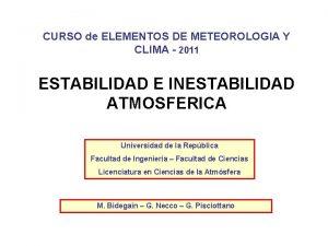 CURSO de ELEMENTOS DE METEOROLOGIA Y CLIMA 2011