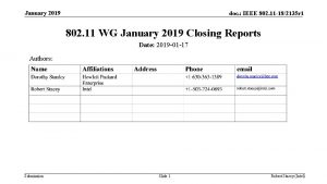 January 2019 doc IEEE 802 11 182135 r