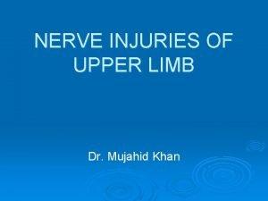 NERVE INJURIES OF UPPER LIMB Dr Mujahid Khan