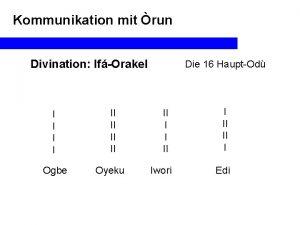 Kommunikation mit run Divination IfOrakel I I Ogbe