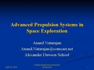 Advanced Propulsion Systems in Space Exploration Anand Natarajan