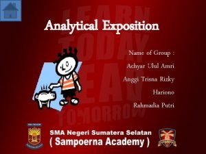 Analytical Exposition Name of Group Achyar Ulul Amri