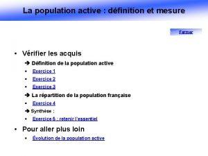 La population active dfinition et mesure Fermer Vrifier