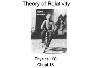 Theory of Relativity Albert Einstein Physics 100 Chapt