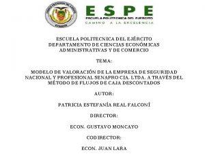 ESCUELA POLITECNICA DEL EJRCITO DEPARTAMENTO DE CIENCIAS ECONMICAS