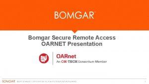 Bomgar Secure Remote Access OARNET Presentation 2015 BOMGAR
