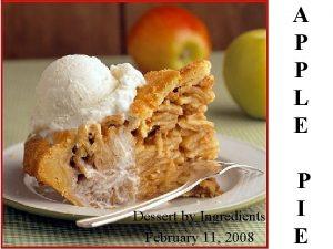 A P P L E Dessert by Ingredients