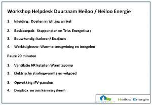 Workshop Helpdesk Duurzaam Heiloo Heiloo Energie 1 Inleiding