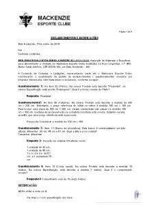 MACKENZIE ESPORTE CLUBE Pgina 1 de 4 ESCLARECIMENTOS