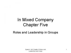 In Mixed Company Chapter Five Roles and Leadership
