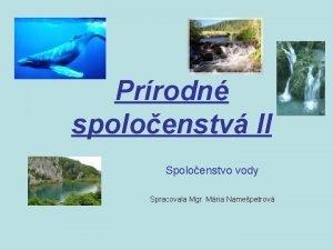 Prrodn spoloenstv II Spoloenstvo vody Spracovala Mgr Mria