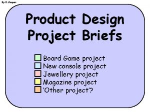 By K Cooper Product Design Project Briefs Board