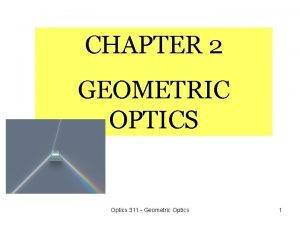 CHAPTER 2 GEOMETRIC OPTICS Optics 311 Geometric Optics