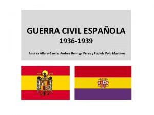 GUERRA CIVIL ESPAOLA 1936 1939 Andrea Alfaro Garca