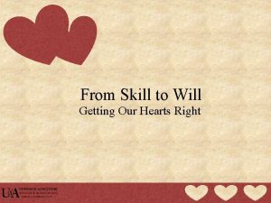 From Skill to Will Getting Our Hearts Right