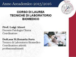 Anno Accademico 20152016 CORSO DI LAUREA TECNICHE DI