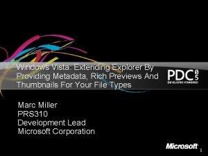 Windows Vista Extending Explorer By Providing Metadata Rich