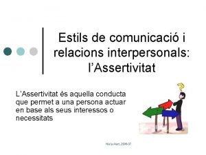 Estils de comunicaci i relacions interpersonals lAssertivitat LAssertivitat