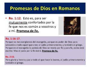 Promesas de Dios en Romanos Ro 1 12