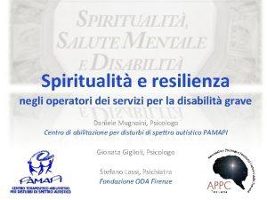 Spiritualit e resilienza negli operatori dei servizi per