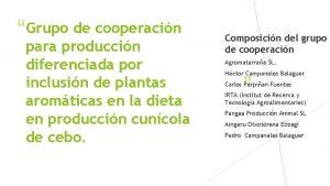Grupo de cooperacin para produccin diferenciada por inclusin
