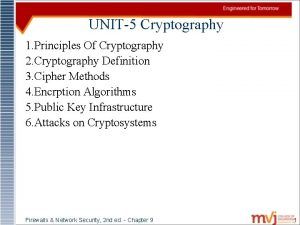 UNIT5 Cryptography 1 Principles Of Cryptography 2 Cryptography