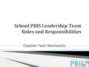 School PBIS Leadership Team Roles and Responsibilities Establish