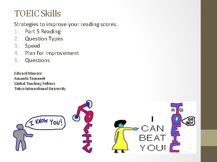 TOEIC Skills Strategies to improve your reading scores