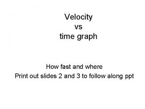 Velocity vs time graph How fast and where