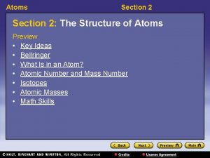 Atoms Section 2 The Structure of Atoms Preview