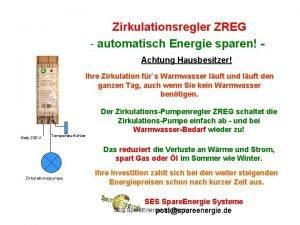 Zirkulationsregler ZREG automatisch Energie sparen Achtung Hausbesitzer Ihre