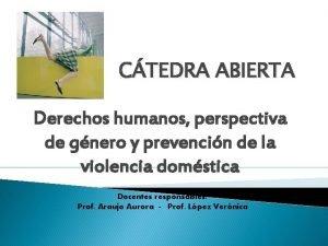 CTEDRA ABIERTA Derechos humanos perspectiva de gnero y