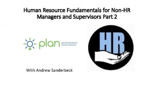 Human Resource Fundamentals for NonHR Managers and Supervisors