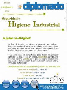 Inicia 6 septiembre 2006 Seguridad e Higiene Industrial