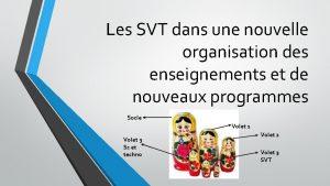 Les SVT dans une nouvelle organisation des enseignements