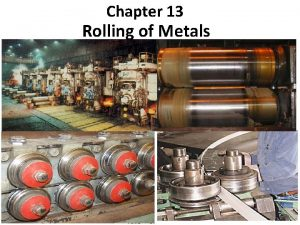Chapter 13 Rolling of Metals Introduction Rolling is
