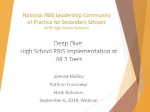 National PBIS Leadership Community of Practice for Secondary