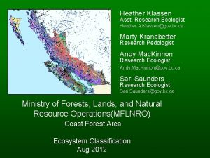 Heather Klassen Asst Research Ecologist Heather A Klassengov