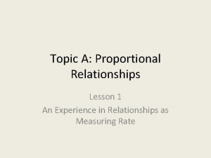 Topic A Proportional Relationships Lesson 1 An Experience