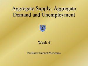 Aggregate Supply Aggregate Demand Unemployment Week 4 Professor