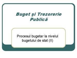 Buget i Trezorerie Public Procesul bugetar la nivelul