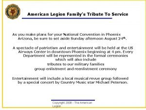 American Legion Familys Tribute To Service As you