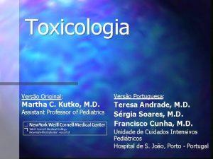 Toxicologia Verso Original Verso Portuguesa Assistant Professor of