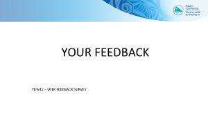 YOUR FEEDBACK TDW 12 USER FEEDBACK SURVEY A